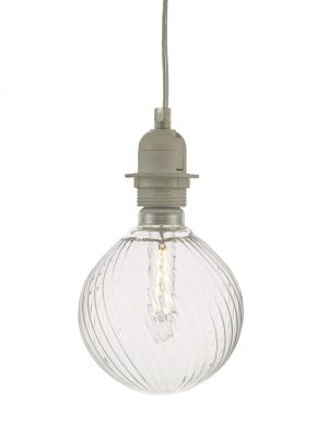 Clear Ribbed Glass LED Dimmable Pendant Kit