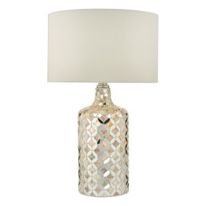 Acquila Table Lamp Mirror & Cream C/W Shade