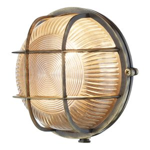 Admiral Round Wall Light Antique Brass IP64
