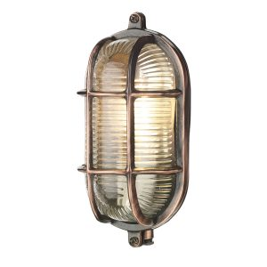 Admiral Small Oval Wall Bulkhead Antique Copper IP64