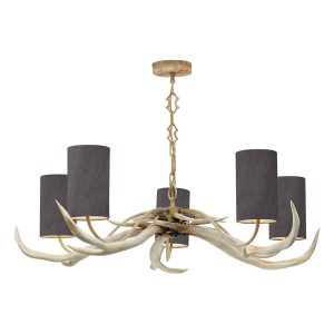 Antler 5 Light Bleached Pendant complete with Silk Shades (Specify Colour)