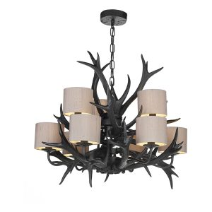 Antler 9 Light Tiered Pendant Black