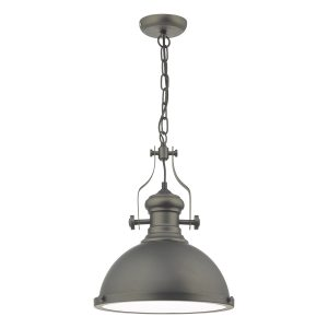 Arona 1lt Pendant Antique Pewter & Glass