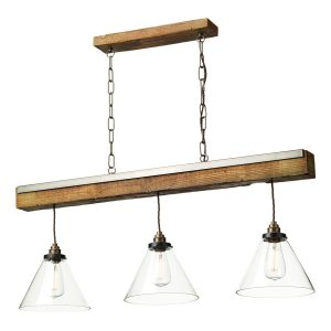 Aspen 3 Light Pendant Wood Effect