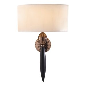Contour Wall Light Black Bronze complete with White Silk Shade