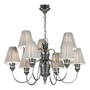 Doreen 9 Light Pendant Pewter complete with String Shades