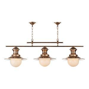 Station Lamp 3 Light Bar Copper