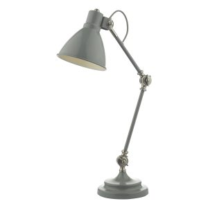 Eunice Task Lamp Grey & Satin Nickel