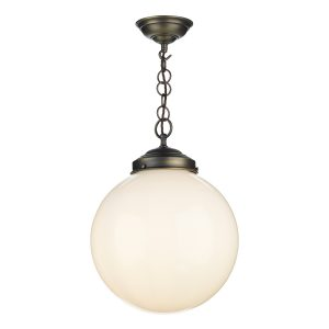 Fairfax 1 Light Pendant Antique Brass complete with Opal Glass