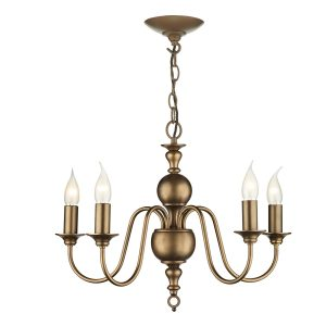 Flemish 5 Light Matt Bronze Pendant