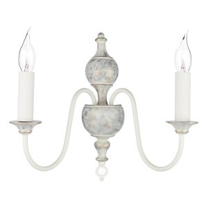 Flemish 2 Light Wall Light Distressed Powder Grey/Gold