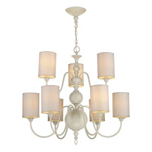 Flemish 9 Light Pendant Cream complete with Shades