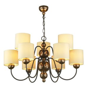 Garbo 9 Light Pendant Bronze complete with Cream Shades