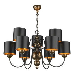 Garbo 9 Light Pendant Bronze complete with Black Bronze Shades