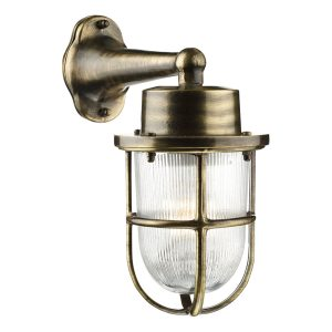 Harbour 1 Light Down Wall Light Antique Brass IP64