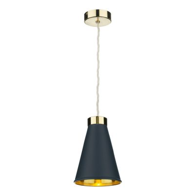 Hyde 1 Light Pendant complete with Smoke Blue Metal Shade