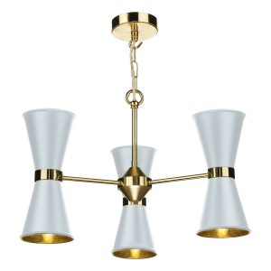 Hyde 6Lt Pendant Polished brass Arctic White