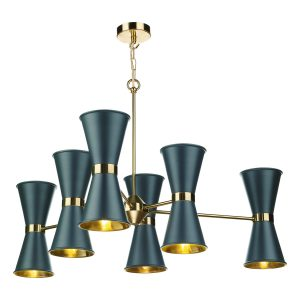 Hyde 12 Light Pendant complete with Smoke Blue Metal Shade
