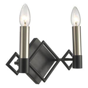 Isambard 2lt Wall Light Satin Nickel & Matt Black