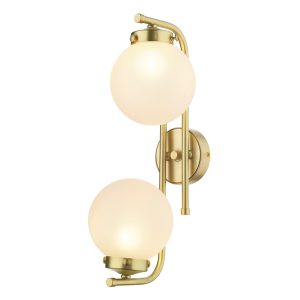 Jazz 2 Light Wall Light Butter Brass complete with Glass