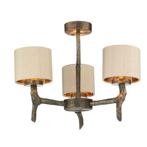 Joshua 3 Light Dual Mount Bronze Pendant Taupe Silk Shade Bronze Lin