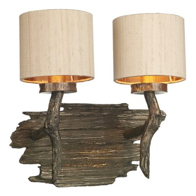 Joshua Double Wall Bracket Bronze Taupe Silk Shade Bronze Lining