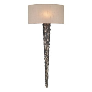 Knurl Wall Light Bronze complete with Taupe Silk Shade