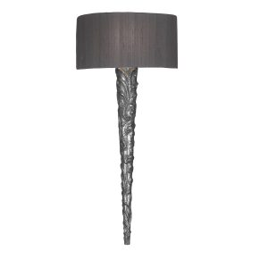 Knurl Wall Light Pewter complete with Silk Shade (Specify Colour)