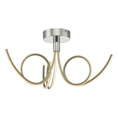 Kohlson 3lt Semi Flush Polished Chrome & Gold LED