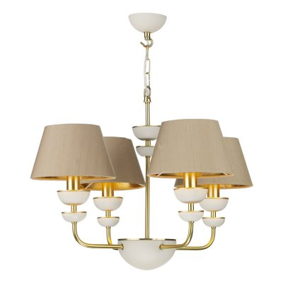 Lunar 4 Light Multi Arm Pendant complete with Silk Shades (Specify Colour)