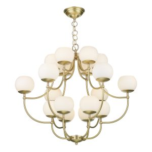 Opera 18 Light Pendant Butter Brass complete with Glass