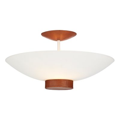 Leather Semi Flush Glass Pendant