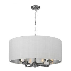Sloane 4 Light Pendant Pewter complete with Silk Shade