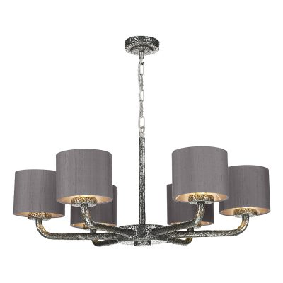 Sloane 6 Light Pendant Pewter complete with Silk Shade