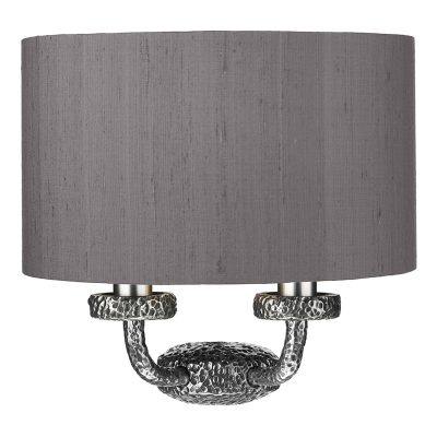 Sloane 2 Light Wall Washer Pewter complete with Silk Shade