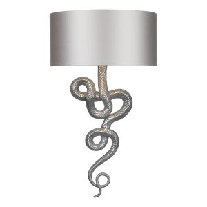 Snake Wall Light Pewter complete with Silk Shade (Spec Col)