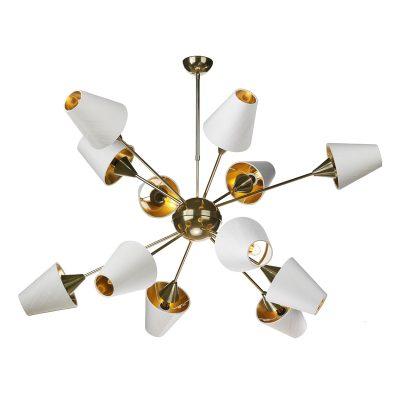 Sputnik 12 Light  Pendant Brass