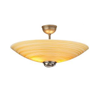 Swirl Semi Flush Pendant Amber Glass