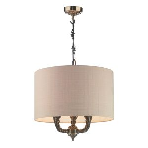 Valerio 3 Light Pendant Bronze complete with Taupe Silk Shade