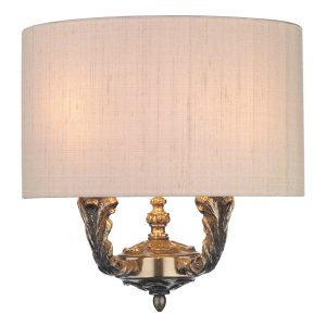 Valerio 2 Light Wall Light Bronze complete with Taupe Silk Shade