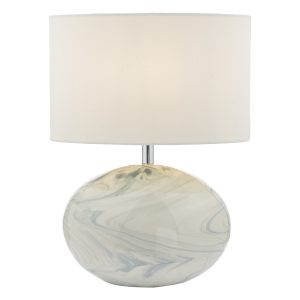 Yuval Table Lamp Marble Effect C/W Shade