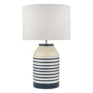 Zabe Table Lamp White & Blue C/W Shade