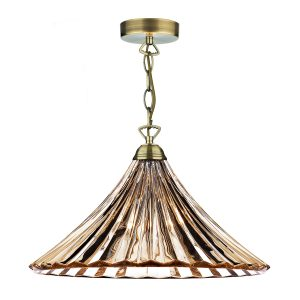 Ardeche 1 Light Large Pendant Amber Glass & Antique Brass