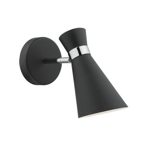 Ashworth Wall Light Matt Black & Polished Chrome
