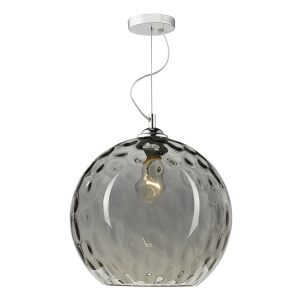 Aulax 1 Light Pendant Silver Smoked Glass With Dimple Effect