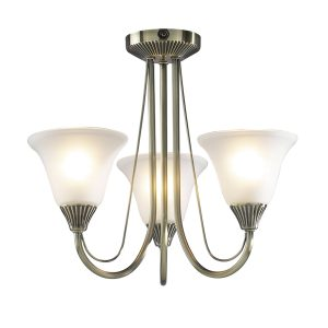 Boston 3 Light Semi Flush Antique Brass C/W Glass