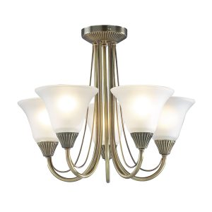 Boston 5 Light Semi Flush Antique Brass