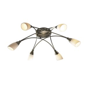 Bureau 6 Light Semi Flush Antique Brass