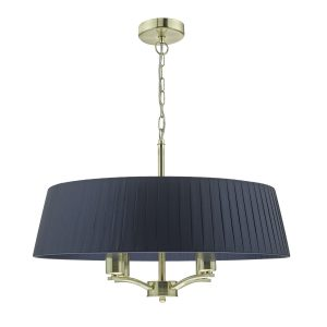 Cristin 4lt Pendant Satin Brass C/W Navy Ribbon Shade