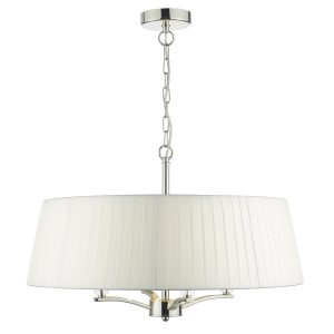 Cristin 4lt Pendant Polished Nickel C/W Ivory Ribbon Shade